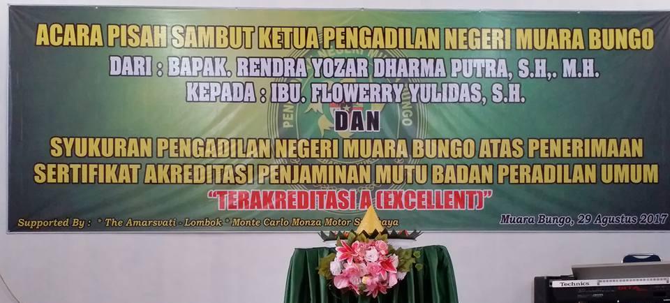 Pisah Sambut Ketua PN. Muara Bungo dan Syukuran Akreditasi PN. Muara Bungo